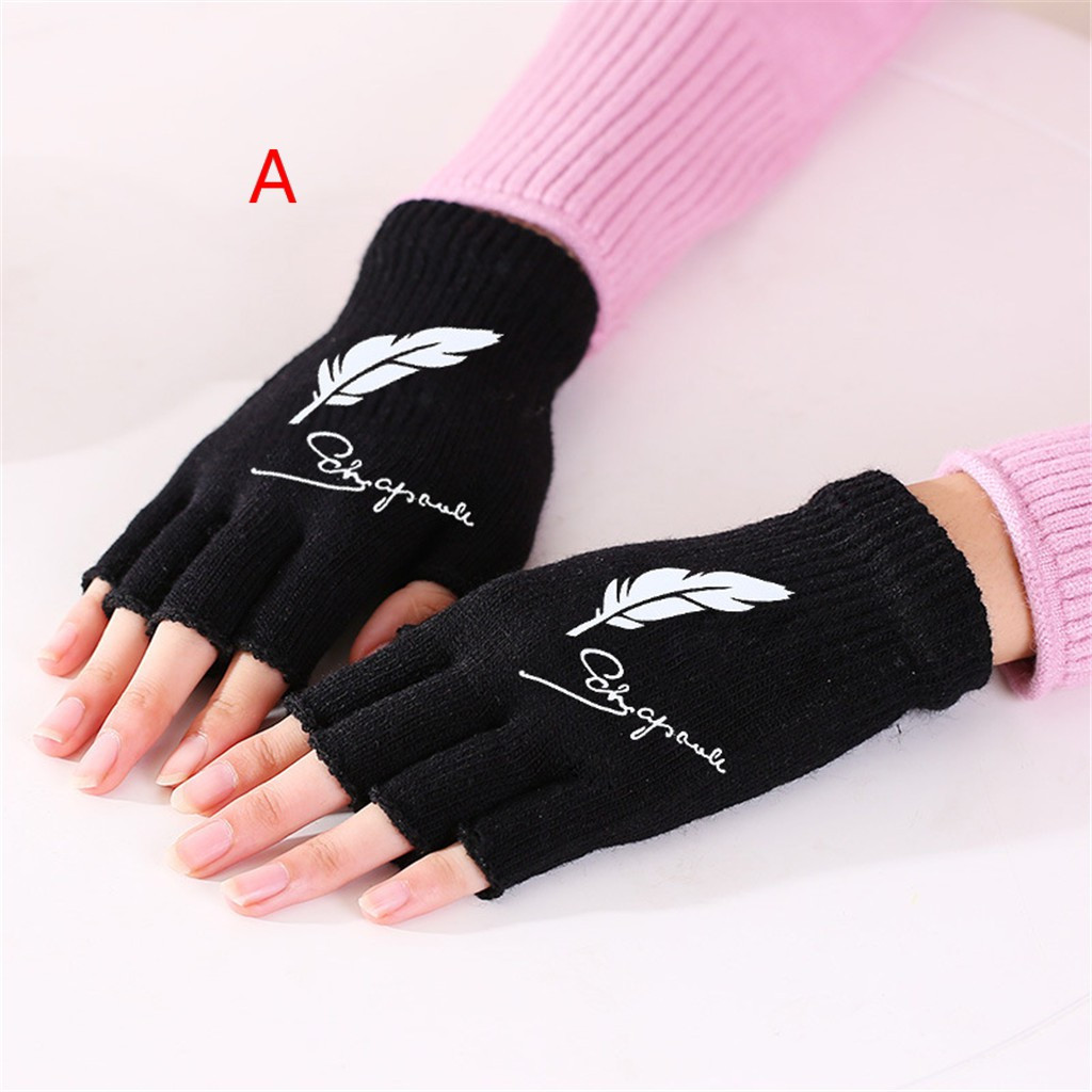 Feather print signature black gloves exposing fingers driving gloves Play Mobile Phone print Polyester mens gloves guantes mujer