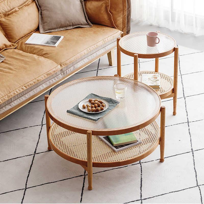 wood coffe table stylish creative glass