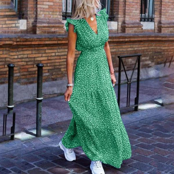 Vintage elegant women dress Summer sexy v neck ruffle sleeve print maxi dress Green blue red Lady beach holiday dress