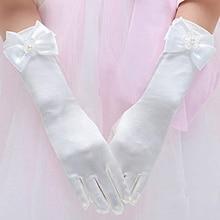 Girls Princess Dress up Bows Kids Size Formal Gloves Satin Dancing Host Performance Gloves LL@17