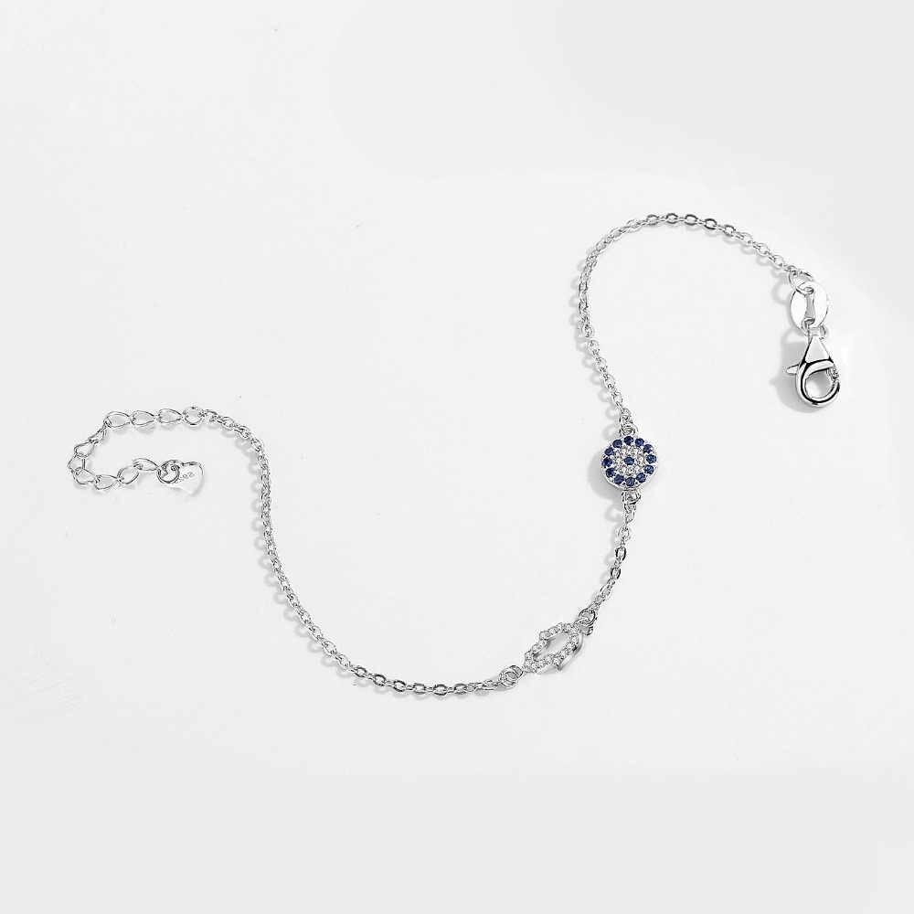 Kaletine 925 Sterling Silver ręka fatimy bransoletka z charmsem złe oko powodzenia niebieski CZ Chain Link bransoletki dla kobiet turecki biżuteria