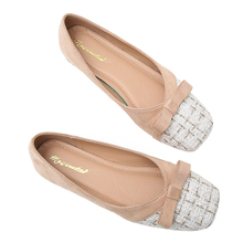 Shoes Comfortable Shoe-Zapatos-De-Mujer Shallow-Mouth Classic Two-Color Splicing Square-Head