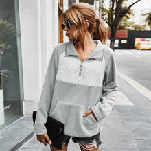 Autumn and winter new ladies plush sweatshirt patchwork fleece
