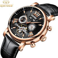 KINYUED Relogio Masculino Perpetual Calendar Tourbillon Mechanical Watch Men Rose Gold Leather Self Wind Automatic Mens Watches
