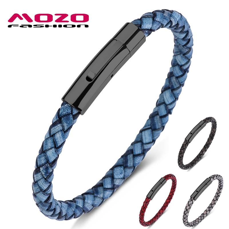 MOZO FASHION 2020 Men Charm Bracelets Blue Genuine Leather Rope Braided Bracelet Simple Style Punk Women Classic Jewelry 602