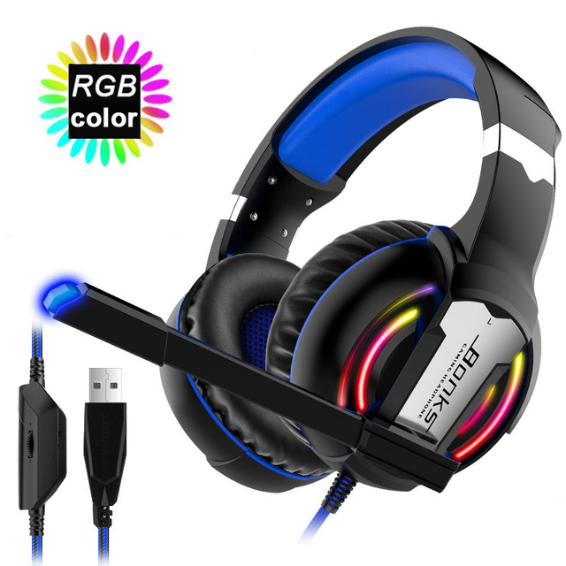 Pro Gaming Headset Headphones with Microphone Light Surround Sound Bass Earphones For PS4 Xbox One Professional Gamer Laptop PC
