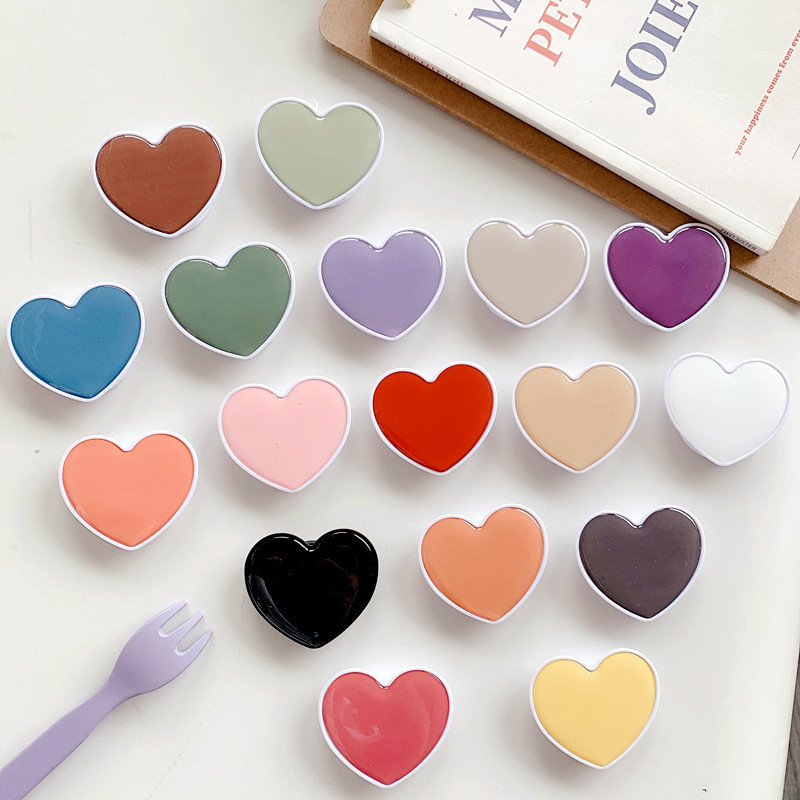 New Cute Heart-shaped Solid Color Foldable Mobile Phone Handle Bracket Mobile Phone Ring Bracket Airbag Bracket For IPhone