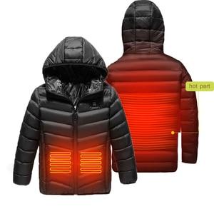 Детская теплая зимняя куртка с капюшоном и USB подогревом, мотоциклетная куртка для мальчиков, лыжная куртка для бега, умное Отопление
