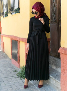 Muslim Pleated Abaya Bow Dress