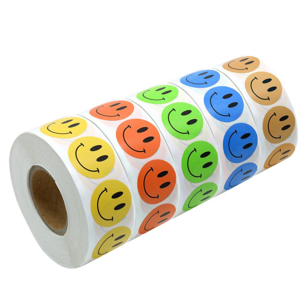 500 Pcs/roll Colored Round Smiley Face Stickers For Adhesive Reward SmileySticker For Children Decoration Party Stickers