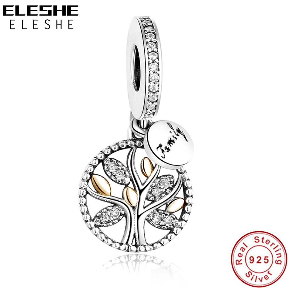 Luxury 925 Sterling Silver FAMILY TREE WITH CUBIC ZIRCONIA Bead Charms Fit Original Pandora Charm Bracelet DIY Authentic Jewelry(China)