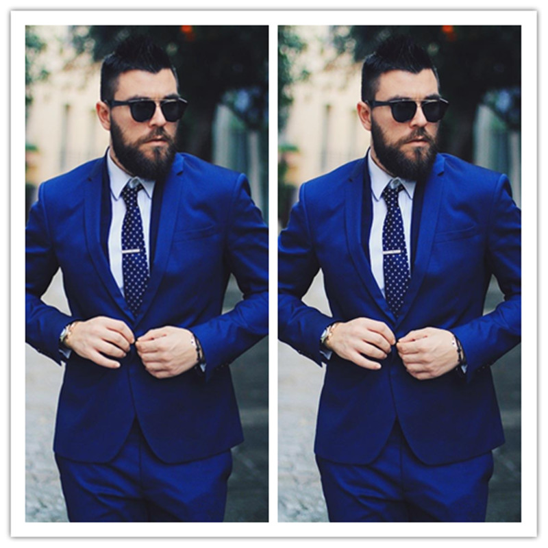 Royal Blue Men Blazers Business Suits Luxury Formal Wedding Bridegroom Tailored Tuxedos Terno Masculino 2 Pieces (Jacket+Pant)