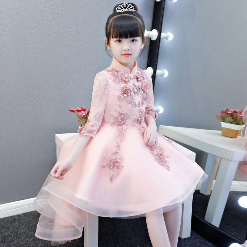 2019 New Style Chinese-style Girls Wedding Dress Puffy Yarn Tailing Kids Children Birthday Formal Dress Princess Dress Flower Bo
