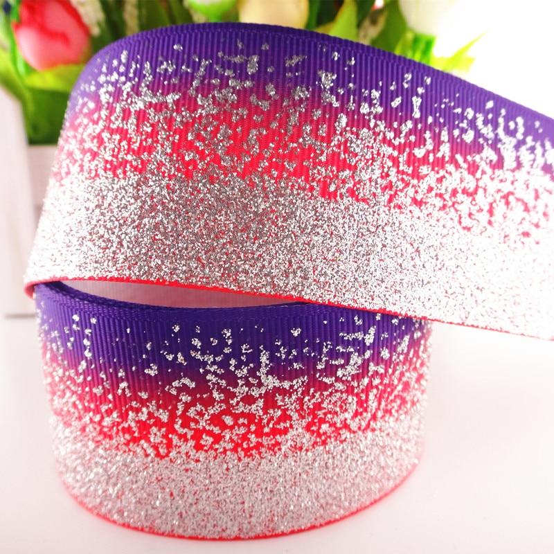 """1-1/"""" 38 мм 5 ярдов блестящие Серебристые печатные корсажные ленты DIY ленты для волос материалы ручной работы MD18021003 - Цвет: 8"""