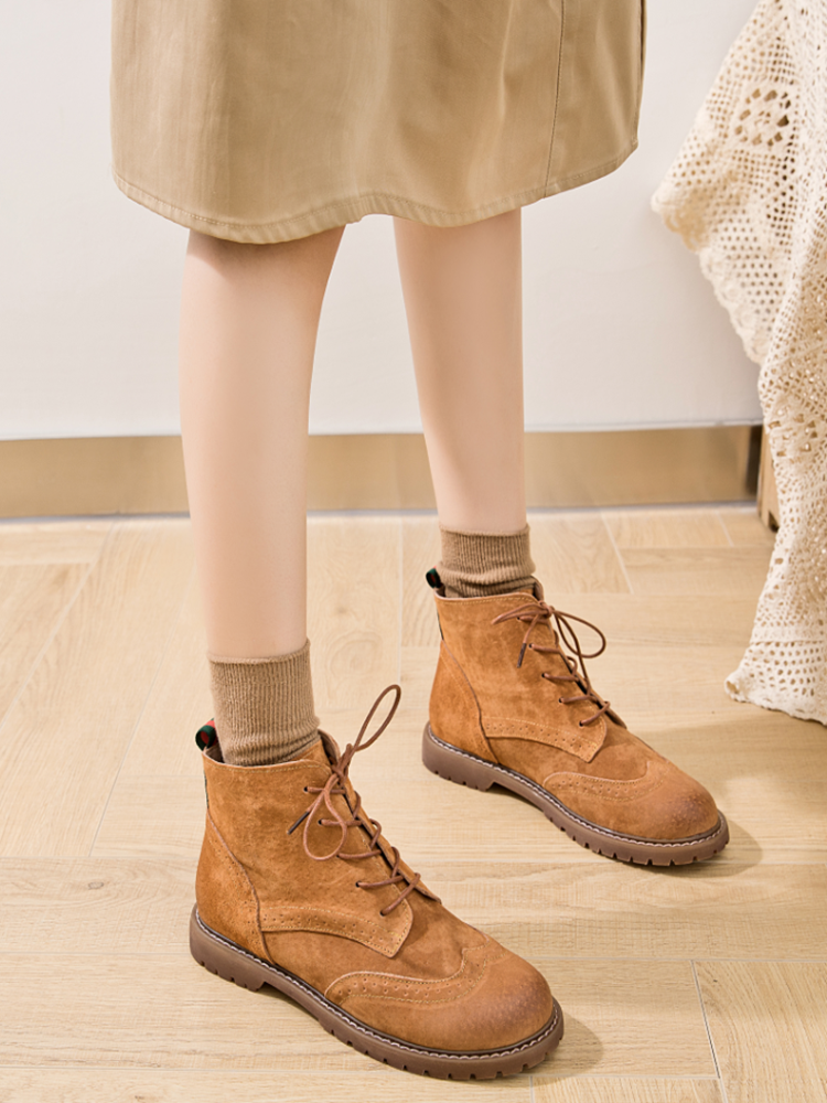 Women Shoes Martin-Boots Trend Suede British Retro Female Genuine-Leather Lace Spring