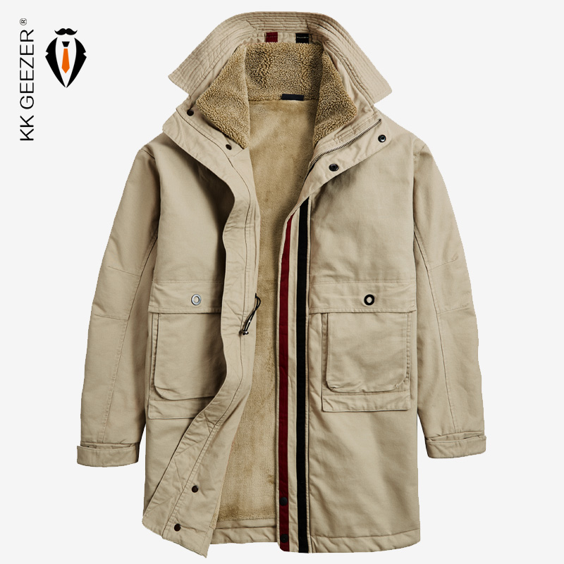 Winter Jacket Men Long Coat 2019 Big Size M-5XL Brands Warm Thick Fleece Military Overcoat High Collar Windbreaker Cotton Parka