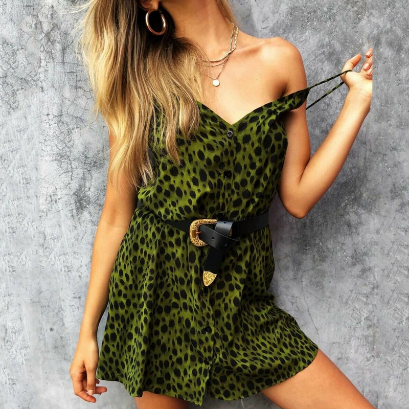Women V-Neck Strappy Leopard Mini Dresses Ladies Sexy Summer Loose V Neck Backless Green Leopard Split Dress Vestidos