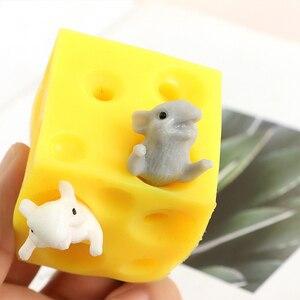 Игрушка для мышей и сыра, ленивая игрушка для снятия стресса, 2 сжимаемые фигурки и блок для сыра, игрушки для снятия стресса, подарок