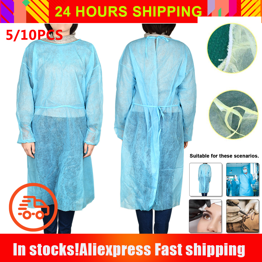 10pcs Disposable Isolation Suit Gown Antibacterial Polyester Non-Woven Splash Resistant Tattoo Eyebrow Artist Protective Clothes