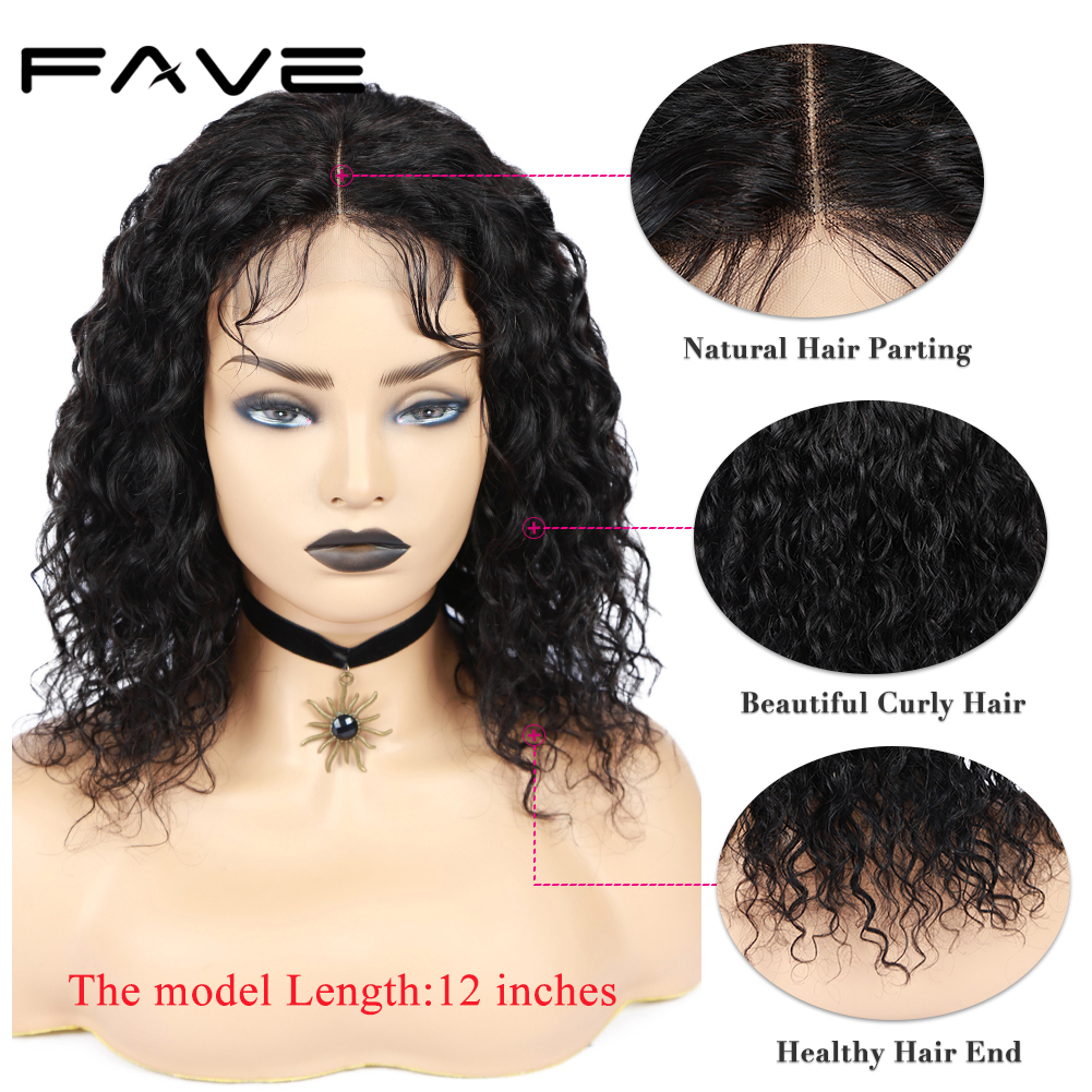 "FAVE Lace Front Wigs 4x4 Closure Water Wave Human Hair Wig 8-22 "" With Baby Hair Glueless Indian Remy Wig For Black Women"