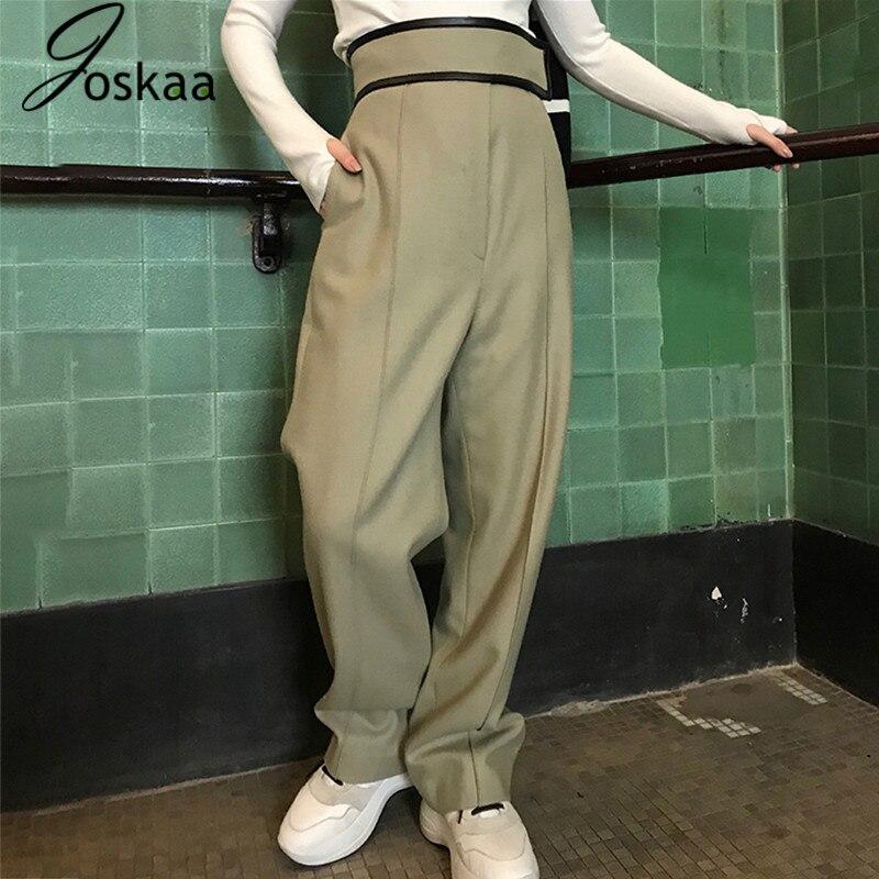 Joskaa cuir Patchwork laine pantalon pour femmes taille haute noir jambe large pantalon femme décontracté mode automne 2019 nouveau