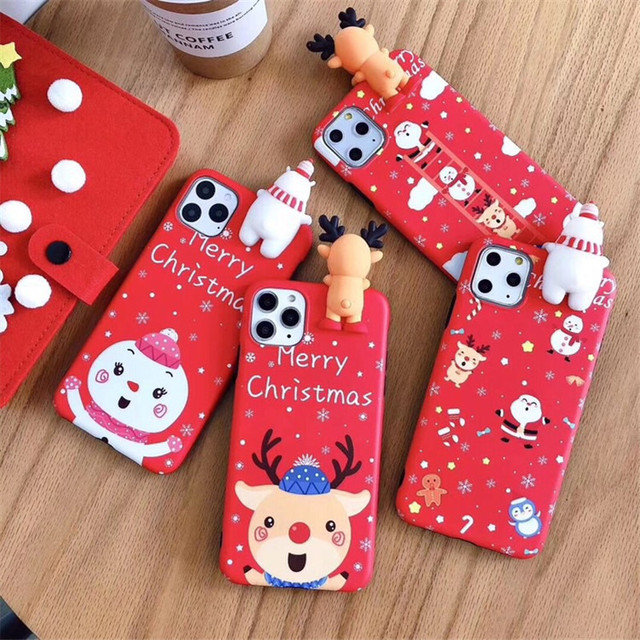 Christmas Cartoon Elk Phone Case For iPhone 11 Pro XS Max XR X SE 2 2020 7 8 6 6S Plus Santa Claus Snowman Silicone Soft Cover