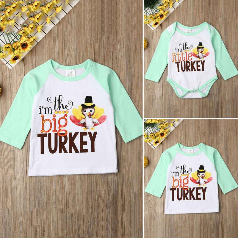 Emmababy nowy 2019 święto dziękczynienia rodzina ubrania topy dla dzieci dziewczyna mała duża siostra ubrania z długim rękawem Romper T-Shirt topy