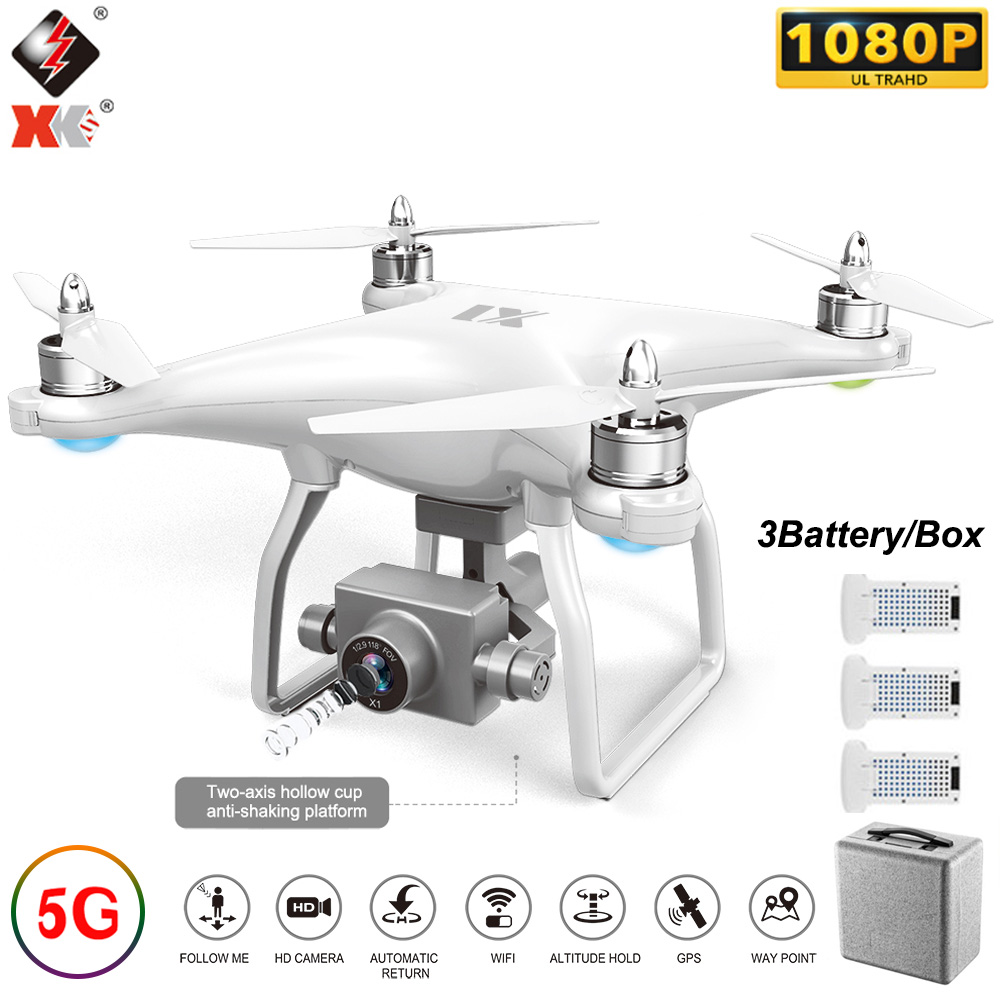 WLtoys XK X1 quadrirotor 1080P caméra 5G Wifi FPV moteur sans balai 2 axes auto-stabilisant cardan 17 minutes temps de vol GPS RC Drone