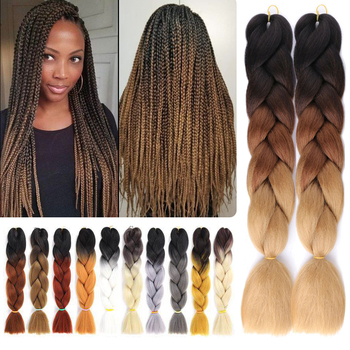 Long Ombre Braiding Hair Jumbo Box Braid 100g 24inch Crochet Synthetic Extensions
