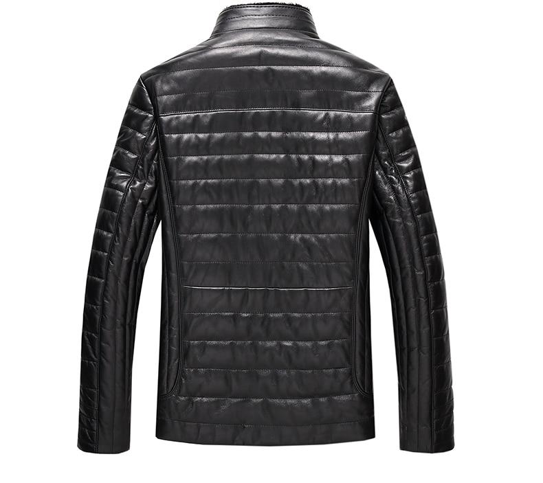 Genuine Leather Jacket Men Winter Duck Down Coat Black Coats Plus Size 6XL Men's Winter Jackets LX2162