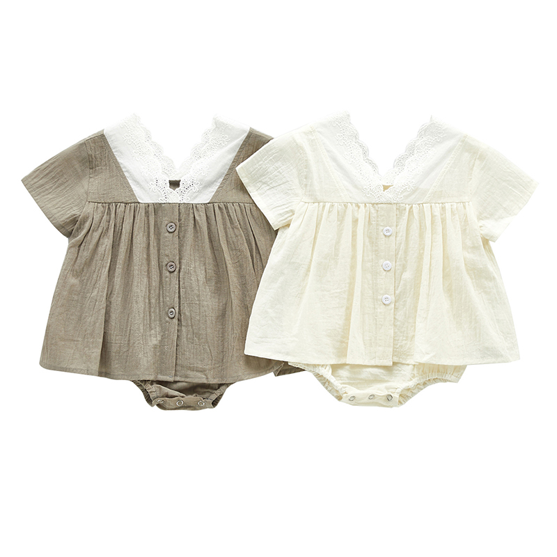 MILANCEL Baby Girls Clothes Cotton Baby Bodysuits V Neck Lace Patchwork Baby Onesise