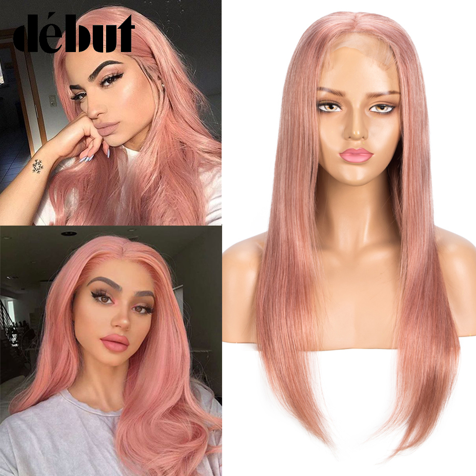 Debut Honey Pink Human Hair Wigs Pre-Plucked U Part Lace Front Human Hair Wigs 10-22'' Blue Blonde 4x4 Lace Closure Cheap Wigs