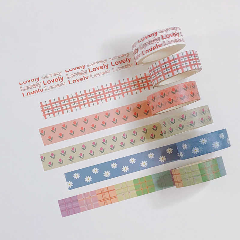 Ins Hot Tulp Alfabet Liefde En Papier Plakband Liefde Bloem Kawaii Korea Washi Tape Hand Account Decoratieve Tape Briefpapier