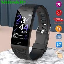 Inteligentny zegarek na pasku mężczyźni kobiety IP68 wodoodporny ciśnienie krwi bransoletka Fitness tętno monitora inteligentne bransoletka Fitness Tracker