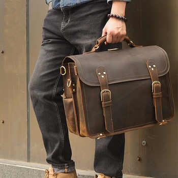 """Men Vintage crazy horse leather briefcase 16\"""" PC genuine leather laptop rucksack Real leather business bag Big Travel Backpack - DISCOUNT ITEM  39% OFF Luggage & Bags"""