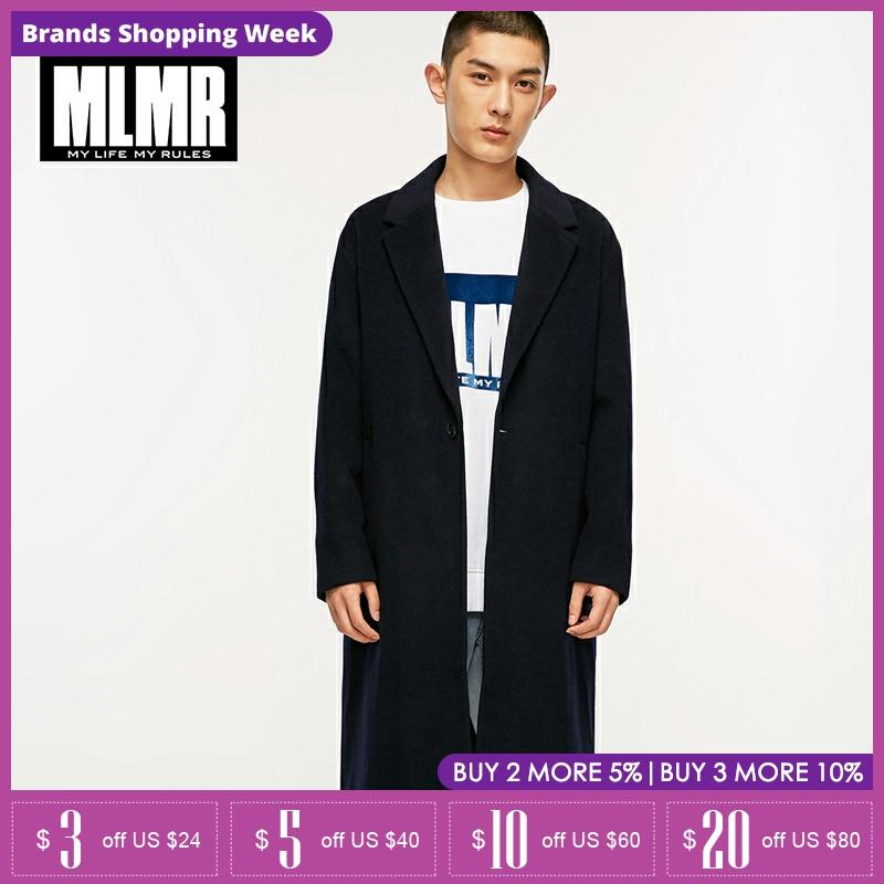 MLMR lapel Collar single button mid Long Mens Wool coat |218327517
