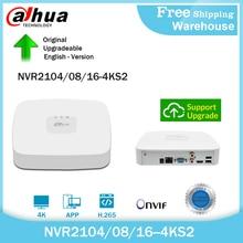Dahua original 4k nvr NVR2104-4KS2 NVR2108-4KS2 NVR2116-4KS2 4/8/16ch mini gravador de vídeo em rede h265 para o sistema de câmera ip