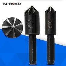 цена на 2Pcs 7 Flute Countersink Drill Bit 1/4 Hex Shank HSS 82 Degree Drill Bit Tool for Woodworking Chamfer Cutter 10-13mm