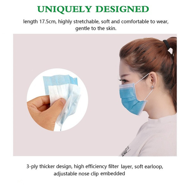 Anti-Pollution 3 Layers Mask dust protection Face Masks Disposable Dust Filter Safety Mask Proof Flu Earloop Face Masks 3