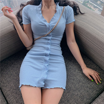 Womens Single-Breasted Casual Dresses
