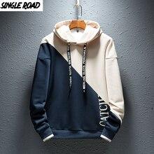 SingleRoad Mens Hoodies Men 2020 Colorblock Casual Patchwork Hoodie Man Japanese Streetwear Hip Hop Khaki Hoodie Sweatshirt Men