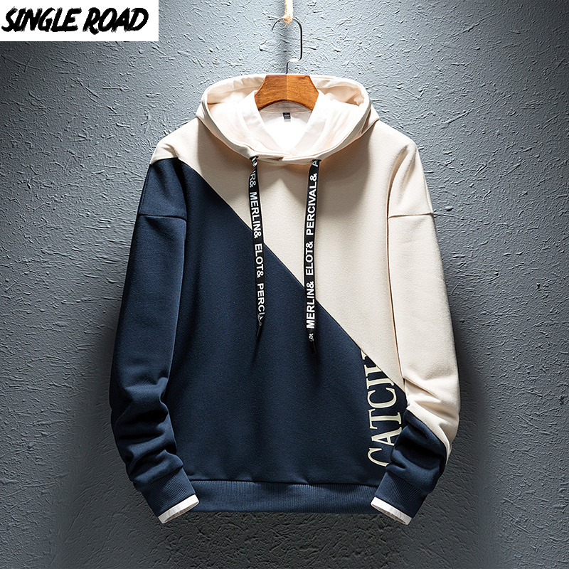SingleRoad Mens Hoodies Men Colorblock Casual Patchwork Hoodie Man Japanese Streetwear Hip Hop Male Yellow Hoodie Sweatshirt Men