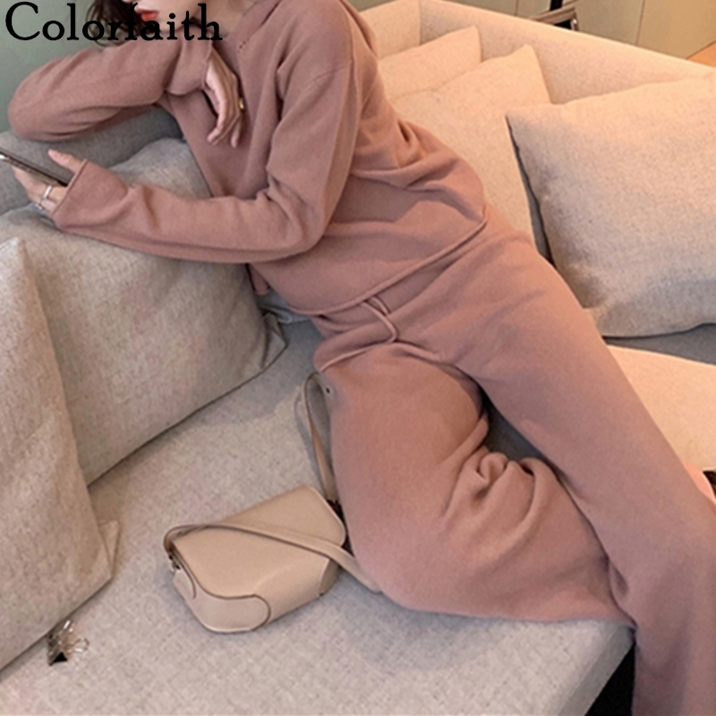 Colorfaith 2019 New Spring Winter Woman Sets Two Piece Set Pullovers Pants Lounge Wear Casual Knitting Minimalist Style WS7669