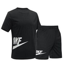 Мужской спортивный костюм, быстросохнущие летние шорты с коротким рукавом и принтом в виде букв