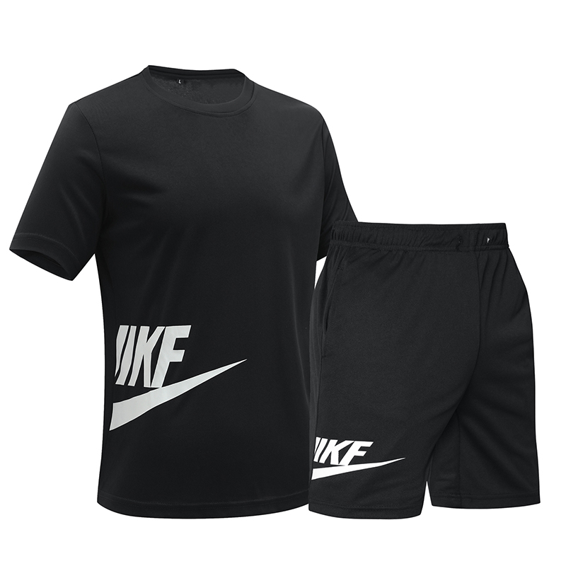 Sportsuit Men Sets Summer Fitness Tracksuit Short Sleeve Quick Drying Short Pants Clothing Letter Printing Brand Set Male