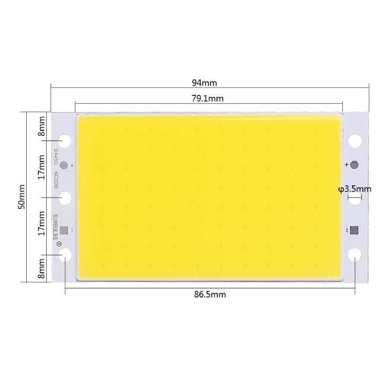 94x50mm COB Panel Light DC12-24V LED Strip Shape Lamp 15W High-brightness LED Light Board E65B