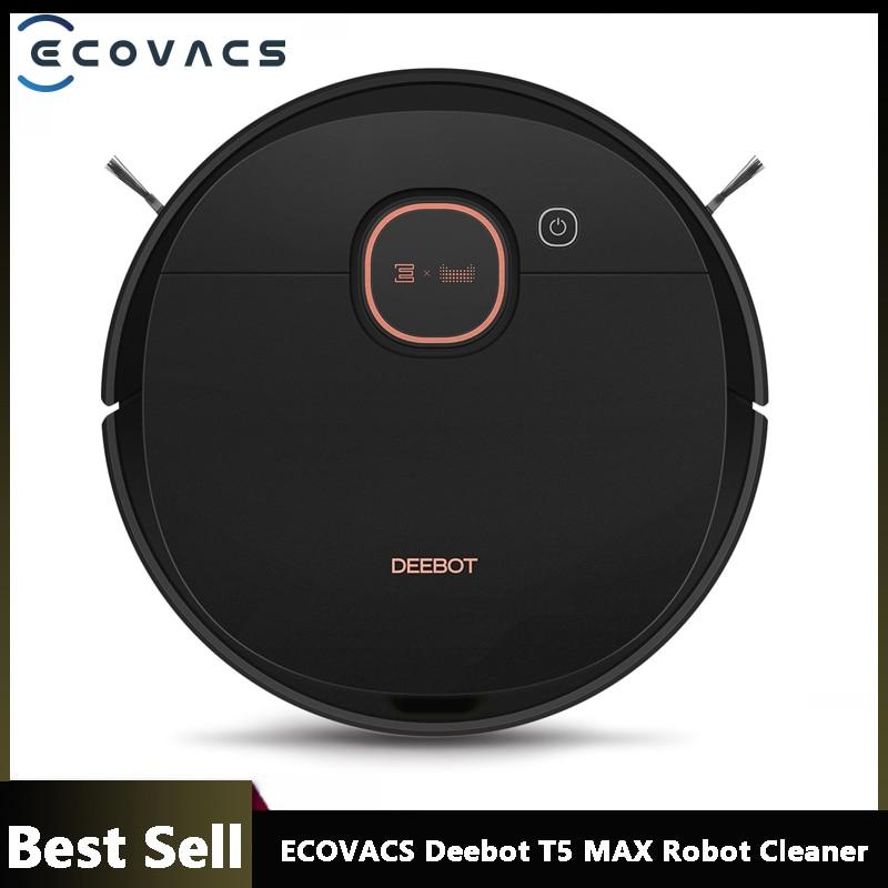 ECOVACS Deebot T5 MAX DX65 Robot Vacuum Cleaner 5200mAh Battery Smart Sweeping Robot 240ml Wet Mop 1500PA Powerful Motor Vacuum Cleaners  - AliExpress