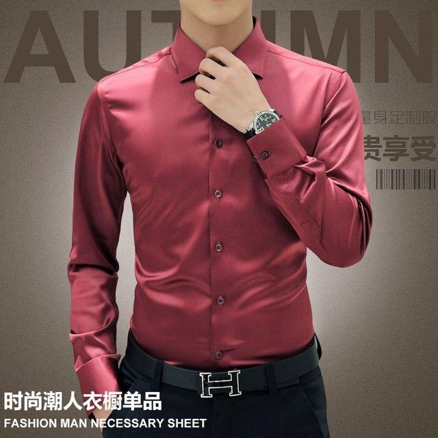 Plus Size 5XL 2021 New Men's Luxury Shirts Wedding Dress Long Sleeve Shirt Silk Tuxedo Shirt Men Mercerized Cotton Shirt 3