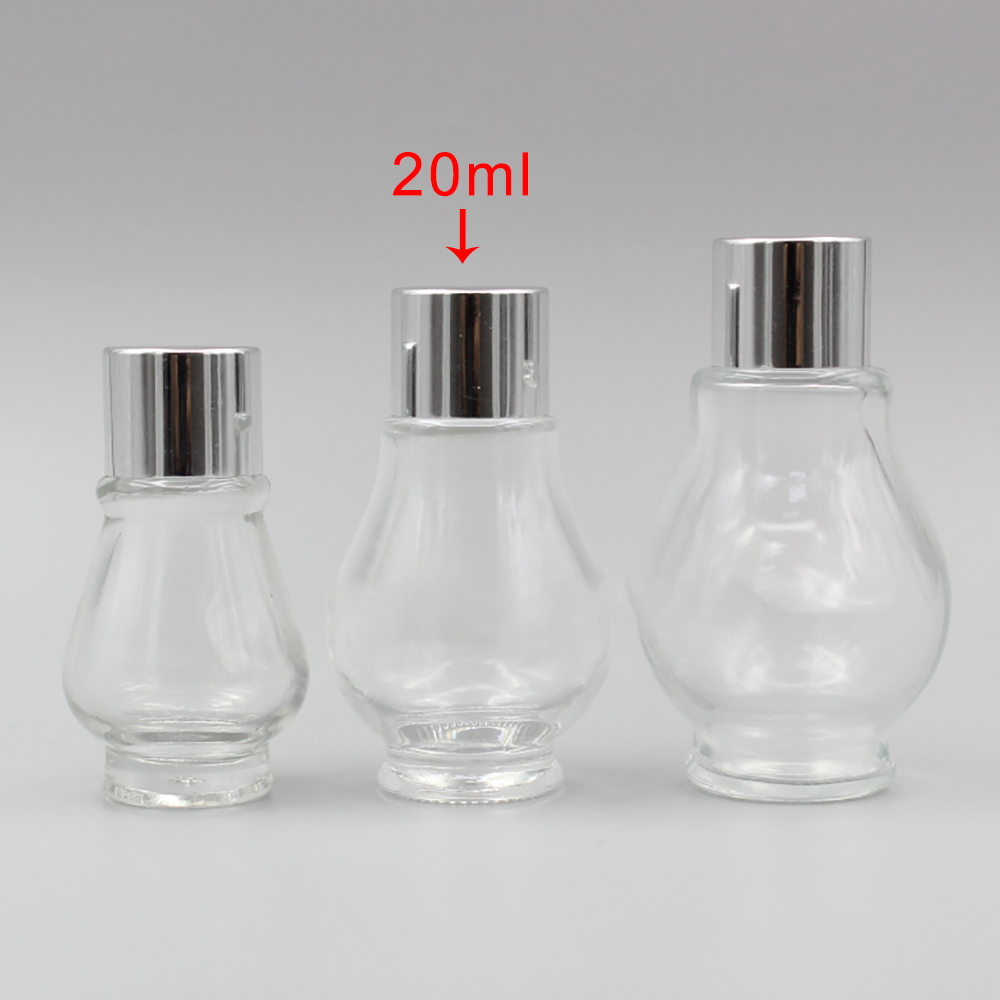 Silver <font><b>Screw</b></font> <font><b>Cap</b></font> <font><b>Glass</b></font> <font><b>Vial</b></font>,<font><b>20ml</b></font> Clear Single Gourd Shape Essential Oil <font><b>Bottle</b></font> image