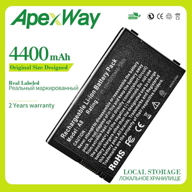 Apexway bateria 4400 mAh para Asus A32-A8 15G10N345800 A8TL751 B991205 15G10N345800 DPC A72DY A72JT A72JU A8A A8H A8J A8N A8S A8T